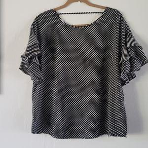 Como Vintage polka dot flutter sleeve blouse